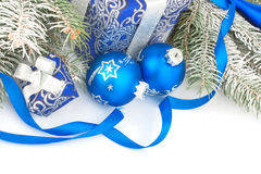 Todavía de la Navidad vida en azul Foto de archivo libre de regalías