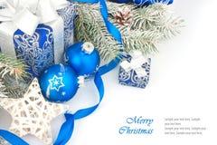 Todavía de la Navidad vida en azul Fotografía de archivo libre de regalías