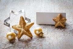 Todavía de la Navidad vida en la madera, tarjeta del lugar, espacio de la copia Foto de archivo libre de regalías