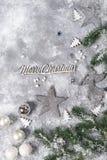 Todavía de la Navidad vida Juguetes de plata y ornamentos decorativos de la Navidad Foto de archivo libre de regalías