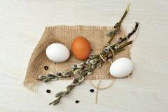 Todavía de Pascua la vida con los huevos y el sauce ramifica Foto de archivo libre de regalías