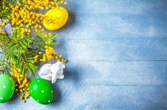 Todavía de Pascua vida con los huevos de la mimosa de la rama Fotos de archivo libres de regalías