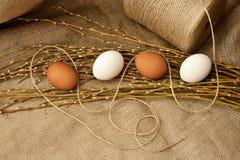 Todavía de Pascua vida con los huevos y las ramas en una arpillera Fotografía de archivo libre de regalías