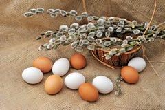 Todavía de Pascua vida con los huevos y las ramas naturales en un fondo de la arpillera Foto de archivo libre de regalías