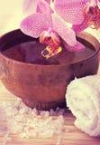 Todavía del balneario vida con la orquídea Imágenes de archivo libres de regalías