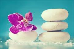 Todavía del balneario vida con la orquídea rosada y el ZEN Stone blanco Foto de archivo libre de regalías