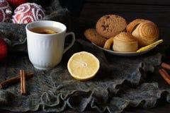 Todavía del invierno vida con té Foto de archivo libre de regalías