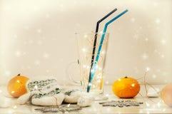 Todavía del invierno vida festiva Manoplas blancas hechas punto y vino reflexionado sobre Foto de archivo libre de regalías