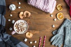 Todavía del invierno vida: sombrero, guantes, chocolate caliente con las melcochas Foto de archivo libre de regalías
