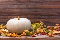 Todavía del otoño la vida con la calabaza y seca las hojas en fondo de madera Fotos de archivo