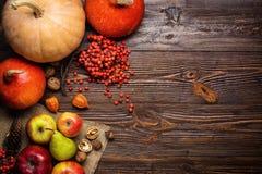 Todavía del otoño vida, calabazas cosechadas y fruta del otoño, regalos de Imagen de archivo