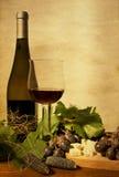 Todavía del otoño vida con el vino y las uvas Foto de archivo