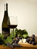 Todavía del otoño vida con el vino y las uvas Fotografía de archivo libre de regalías
