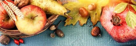Todavía del otoño vida con la granada, la manzana y las hojas de la caída Caída Fotografía de archivo libre de regalías