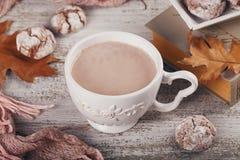 Todavía del otoño vida con la taza de galletas del cacao y del chocolate Fotos de archivo libres de regalías