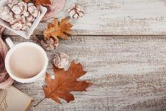 Todavía del otoño vida con la taza de galletas del cacao y del chocolate Imagen de archivo