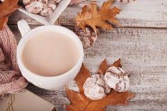 Todavía del otoño vida con la taza de galletas del cacao y del chocolate Foto de archivo libre de regalías