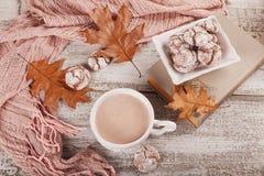 Todavía del otoño vida con la taza de galletas del cacao y del chocolate Fotografía de archivo