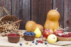 Todavía del otoño vida con las calabazas y baya y verduras del otoño en el viejo fondo de madera, primer Fotos de archivo libres de regalías