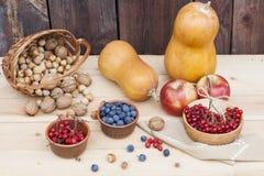 Todavía del otoño vida con las calabazas y baya y verduras del otoño en el viejo fondo de madera, primer Fotografía de archivo libre de regalías