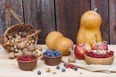 Todavía del otoño vida con las calabazas y baya y verduras del otoño en el viejo fondo de madera, primer Foto de archivo