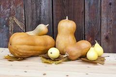 Todavía del otoño vida con las calabazas y las hojas de otoño en el viejo fondo de madera, primer Foto de archivo libre de regalías