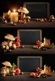 Todavía del otoño vida con las decoraciones de la pizarra y del otoño, sistema, s Foto de archivo