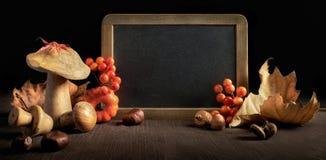 Todavía del otoño vida con las decoraciones de la pizarra y del otoño, espacio Imagen de archivo libre de regalías