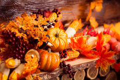 Todavía del otoño vida con las hojas del marple y las bayas vinosas Fotos de archivo