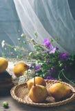 Todavía del otoño vida con las peras y las flores Imagen de archivo