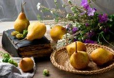 Todavía del otoño vida con las peras y las flores Imagen de archivo libre de regalías