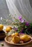 Todavía del otoño vida con las peras y las flores Fotos de archivo libres de regalías
