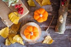 Todavía del otoño vida con una calabaza y hojas caidas Imagen de archivo libre de regalías