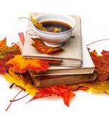 Todavía del otoño vida con una taza de té Foto de archivo