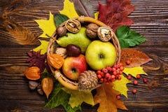 Todavía del otoño vida, cosechada de la fruta del otoño, hojas de otoño, GIF Fotografía de archivo libre de regalías