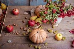 Todavía del otoño vida de la fruta Fruta en la tabla Imagen de archivo libre de regalías