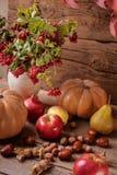 Todavía del otoño vida de la fruta Manzanas, nueces y calabaza en la tabla Fotografía de archivo libre de regalías