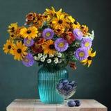 Todavía del otoño vida: flores y ciruelos del jardín Imagenes de archivo