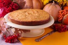 Todavía del otoño vida Pastel de calabaza hecho en casa para el día de la acción de gracias Imagen de archivo