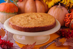 Todavía del otoño vida Pastel de calabaza hecho en casa para el día de la acción de gracias Fotografía de archivo