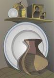 Todavía del país vida de platos de cerámica Foto de archivo libre de regalías