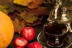 Todavía del té vida con el samovar, manzanas, calabazas anaranjadas maduras, hojas de arce en fondo de madera Imágenes de archivo libres de regalías