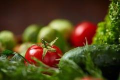 Todavía del vegetariano vida de verduras frescas en la placa de madera sobre el fondo rústico, primer, endecha plana Imágenes de archivo libres de regalías