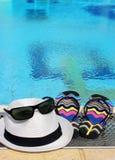Todavía del verano vida por la piscina Imagen de archivo libre de regalías