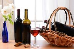 Todavía del vino ventana de la vida horizontal Imagen de archivo