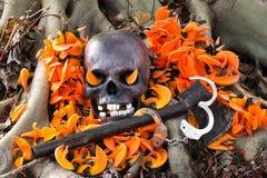 Todavía fotografía de la vida, cráneo en la llama del bosque Fotos de archivo libres de regalías