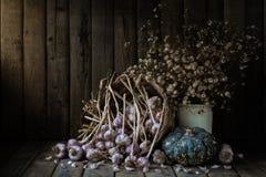 Todavía la vida con el galics, calabaza y seca las pequeñas flores en el fondo de madera de la tabla Fotografía de archivo