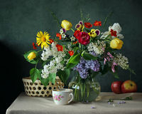 Todavía la vida con la primavera florece en un jarro de cristal Imágenes de archivo libres de regalías