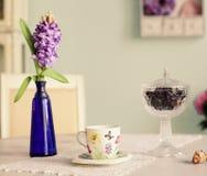 Todavía la vida con la taza de té de las flores del jacinto del florero subió Imagen de archivo libre de regalías