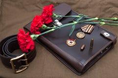 Todavía la vida con los objetos del vintage dedicó a Victory Day Imagen de archivo libre de regalías